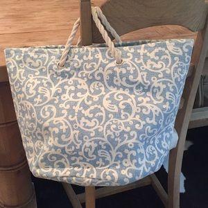 Handbags - Blue and white straw beach bag, never used